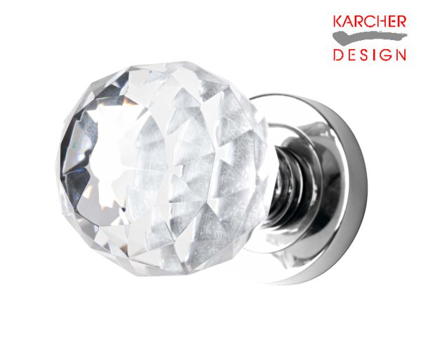 Karcher Polished Stainless Steel Bevelinged Crystal Knob